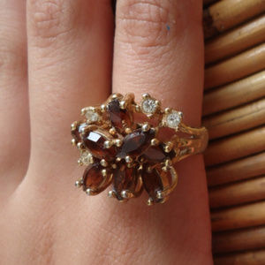 Chunky Vintage 80s Gold Plated Cocktail Ring